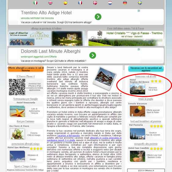 Dream's land for advertisement hotel on internet